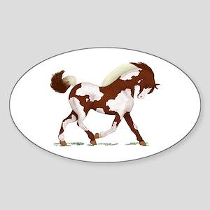 Chestnut Overo Horse Oval Sticker
