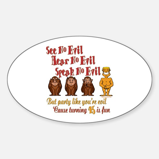 Party 45th Oval Decal