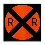 RR Crossing Sign Tile Coaster