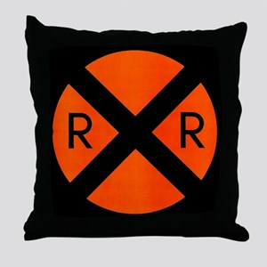 RR Crossing Sign Throw Pillow