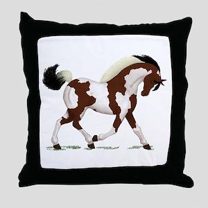 Bay Tobiano Pinto Horse Throw Pillow