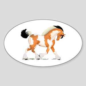 Buckskin Tobiano Gypsy Horse Oval Sticker