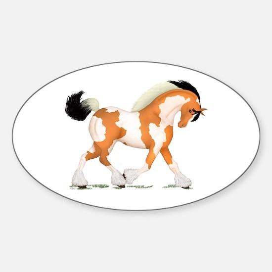 Buckskin Tobiano Gypsy Horse Oval Decal