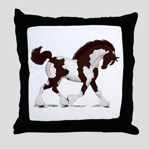 Brown Tobiano Gypsy Horse Throw Pillow