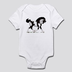 Black Tobiano Gypsy Horse Infant Bodysuit