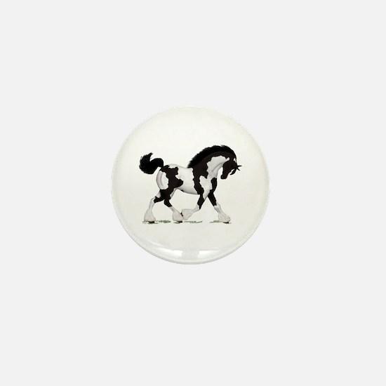 Black Tobiano Gypsy Horse Mini Button
