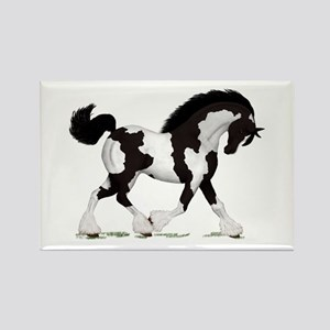 Black Tobiano Gypsy Horse Rectangle Magnet