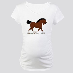Bay Clydesdale Horse Maternity T-Shirt