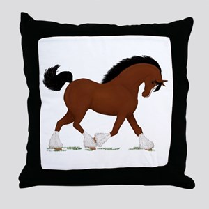 Bay Clydesdale Horse Throw Pillow