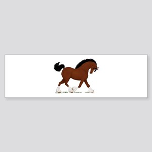 Bay Clydesdale Horse Bumper Sticker