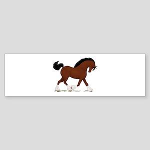 Bay Clydesdale Horse Bumper Sticker