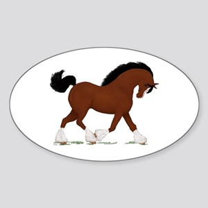 Bay Clydesdale Horse Oval Sticker