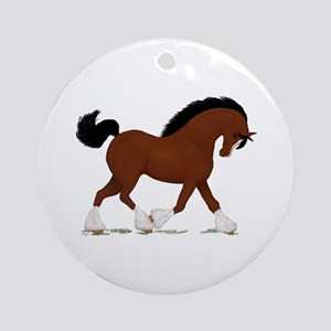 Bay Clydesdale Horse Ornament (Round)