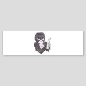 MONKEY WITH BANANA Bumper Sticker