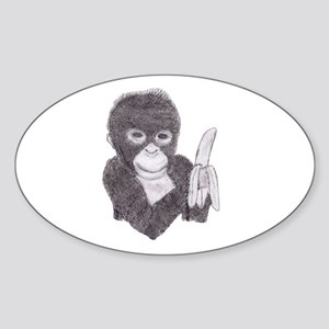 MONKEY WITH BANANA Oval Sticker