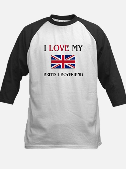 I Love My British Boyfriend Kids Baseball Jersey