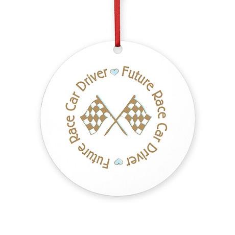 Future Race Car Driver Flag Boy Ornament (Round)