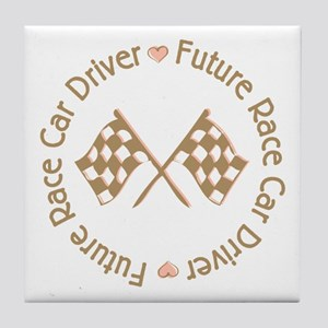 Future Race Car Driver Flag Girl Tile Coaster
