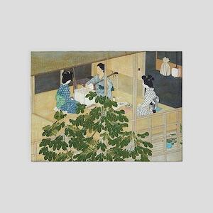 Vintage Japanese Women Music Session 5'x7'Area Rug