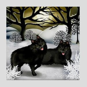 SCHIPPERKE DOGS WINTER SUNSET Tile Coaster