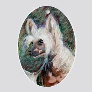 """""""Spring"""" a Chinese Crested Oval Ornament"""