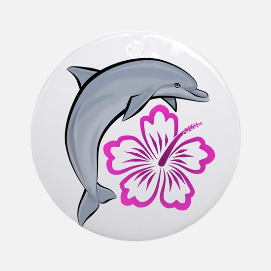 Dolphin Hibiscus Pink Ornament (Round)