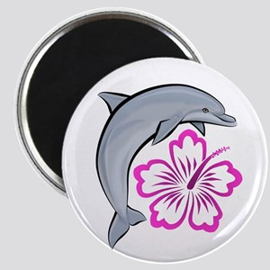 Dolphin Hibiscus Pink Magnet