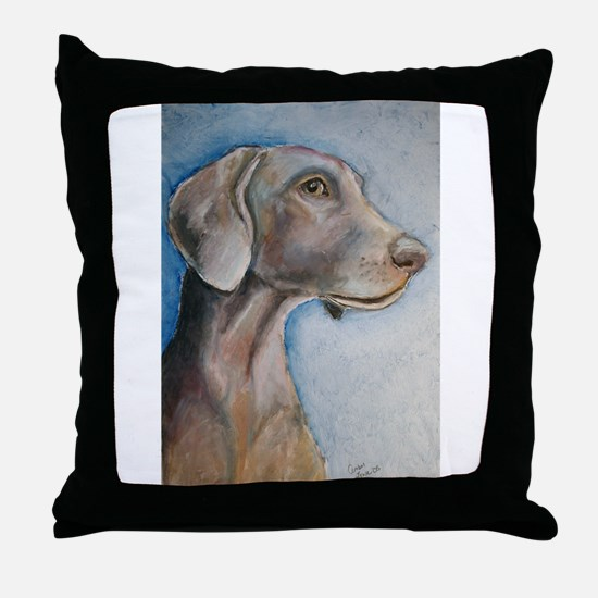"""Greta"" a Weimaraner Throw Pillow"