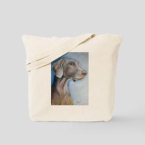 """Greta"" a Weimaraner Tote Bag"
