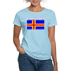 Aland Islands Flag Women's Pink T-Shirt