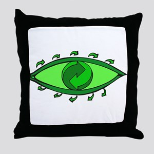 Green Recycle Throw Pillow