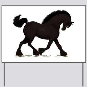 Friesian Black Horse Yard Sign