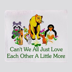 Peace Animals Throw Blanket