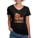Sanibel Tiki Bar - Women's V-Neck Dark T-Shirt