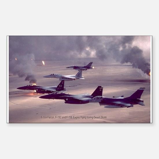 F-16 Falcon F-15 Eagle Rectangle Decal