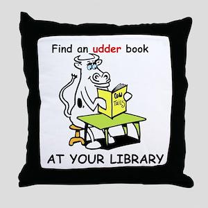 cartoon library cow Throw Pillow