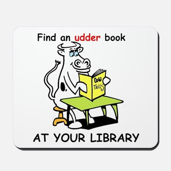cartoon library cow Mousepad