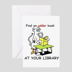 cartoon library cow Greeting Card