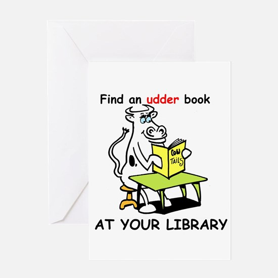 cartoon library cow Greeting Card