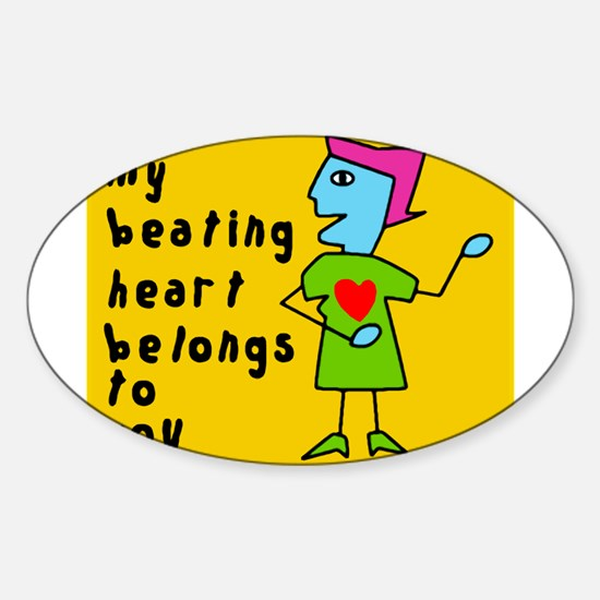 My Heart Belongs To You Oval Decal