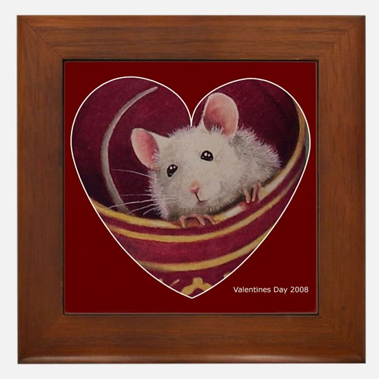 Valentines Mouse Art Framed Tile