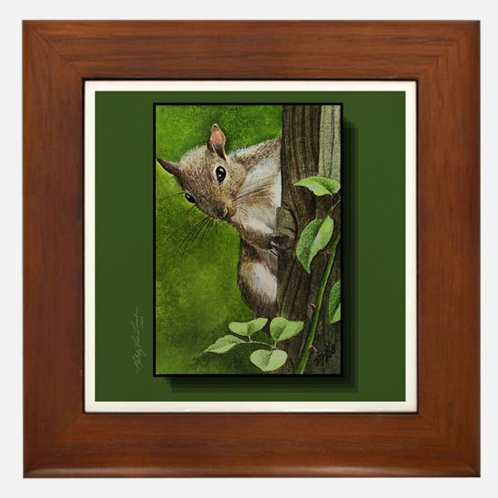 Grey Squirrel Framed Tile