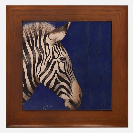 Framed Zebra Art Tile