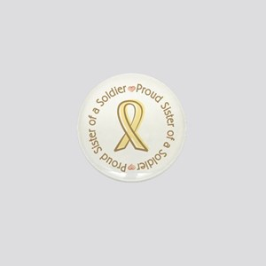 Proud Soldier Sister Yellow Ribbon Mini Button
