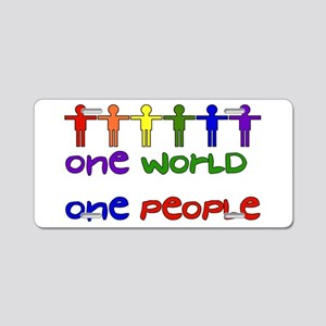 One World One People Aluminum License Plate