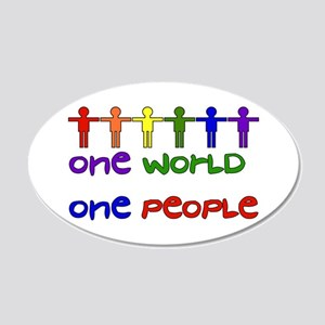 One World One People 20x12 Oval Wall Decal
