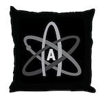 ATHEIST SYMBOL Dark Throw Pillow