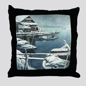 Vintage Japanese Boats in Winter Throw Pillow