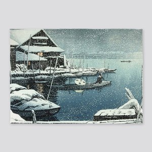 Vintage Japanese Boats in Winter 5'x7'Area Rug
