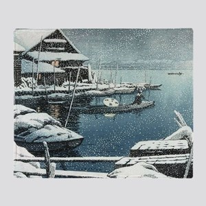 Vintage Japanese Boats in Winter Throw Blanket